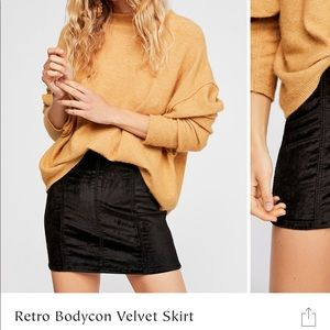Free people velvet mini skirt new with tags